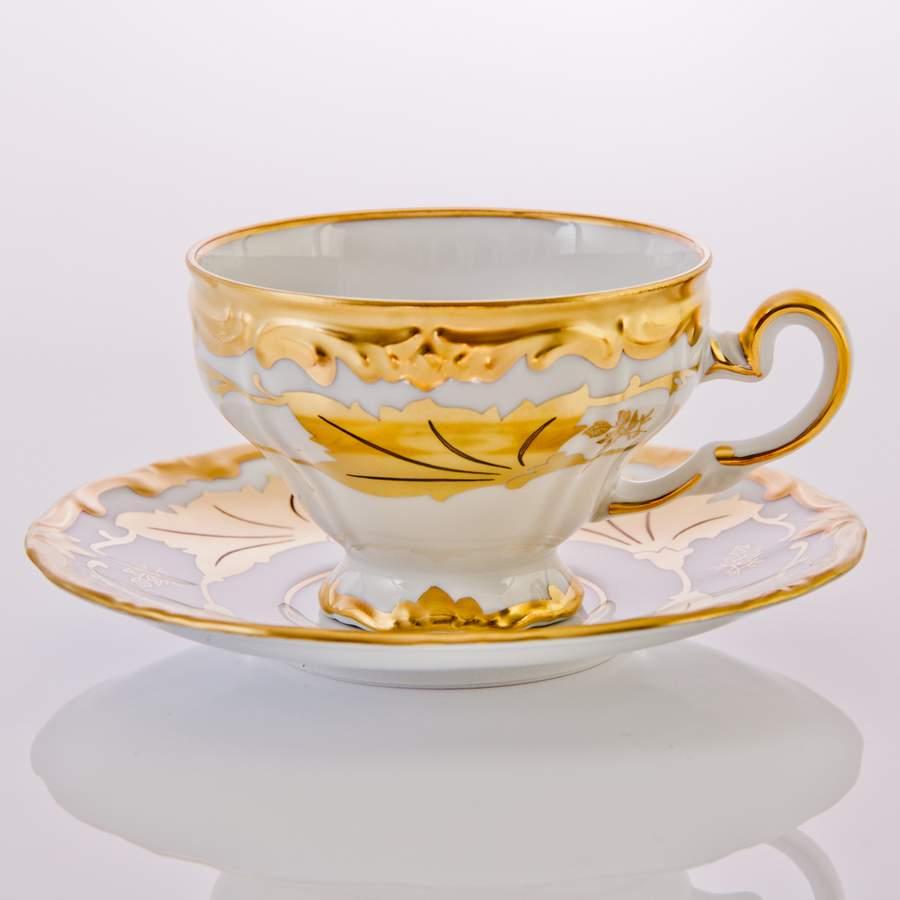 Набор чайных пар КЛЕНОВЫЙ ЛИСТ БЕЛЫЙ от Weimar Porzellan