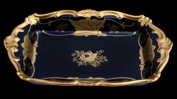Масленка 18 см КЛЕНОВЫЙ ЛИСТ КОБАЛЬТ от Weimar Porzellan, фарфор