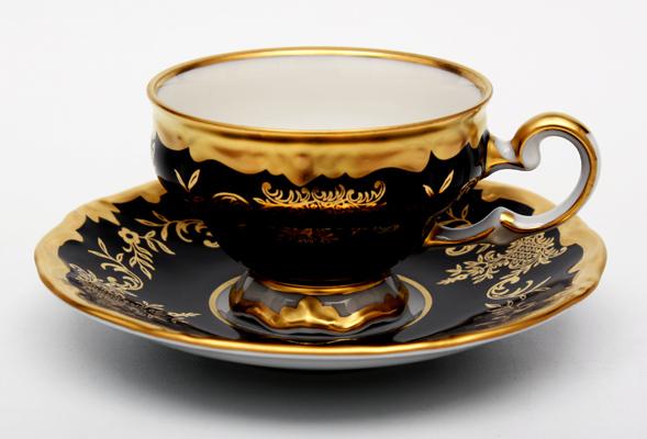 Набор кофейных мокко пар ЮВЕЛ КОБАЛЬТ от Weimar Porzellan на 6 персон, 12 предметов, подарочная упаковка