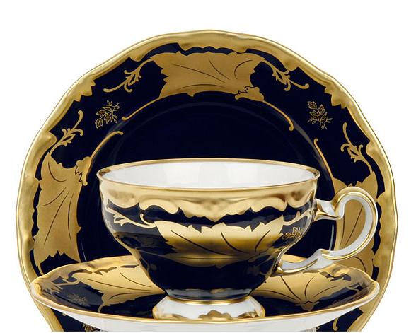 Набор чайных пар КЛЕНОВЫЙ ЛИСТ КОБАЛЬТ