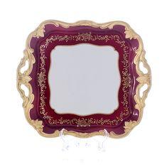 Блюдо квадратное 30 см ЮВЕЛ КРАСНЫЙ от Weimar Porzellan, фарфор