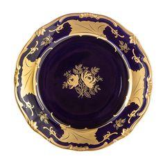 Набор фарфоровых тарелок 26 см КЛЕНОВЫЙ ЛИСТ КОБАЛЬТ от Weimar Porzellan, 6 шт.