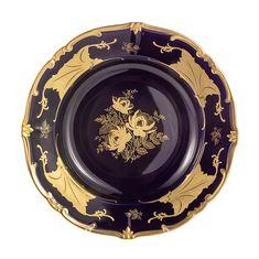Блюдо круглое глубокое 33 см КЛЕНОВЫЙ ЛИСТ КОБАЛЬТ от Weimar Porzellan, фарфор