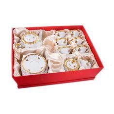 Сервиз чайный фарфоровый РОЗА ЗОЛОТАЯ от Weimar Porzellan на 6 персон, 21 предмет, подарочная упаковка