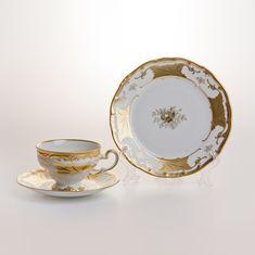 Чайный набор КЛЕНОВЫЙ ЛИСТ БЕЛЫЙ от Weimar Porzellan на 6 персон, 18 предметов, подарочная упаковка
