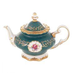 Чайник заварочный 0.6 л САНКТ-ПЕТЕРБУРГ, ЗЕЛЕНЫЙ декор от Weimar Porzellan, фарфор