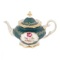 Чайник заварочный 1.2 л САНКТ-ПЕТЕРБУРГ, ЗЕЛЕНЫЙ декор от Weimar Porzellan, фарфор