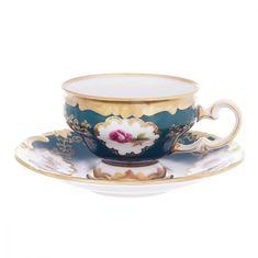 Набор кофейных пар мокко 100 мл САНКТ-ПЕТЕРБУРГ, ЗЕЛЕНЫЙ декор от Weimar Porzellan, 6 пар, подарочная упаковка