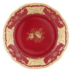 Набор фарфоровых тарелок 22 см КЛЕНОВЫЙ ЛИСТ КРАСНЫЙ от Weimar Porzellan, 6 шт.
