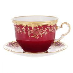 Чашка для капучино 400 мл с блюдцем ЮВЕЛ КРАСНЫЙ от Weimar Porzellan, фарфор