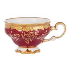 Набор фарфоровых чашек для кофе мокко 100 мл ЮВЕЛ КРАСНЫЙ от Weimar Porzellan, 6 шт.