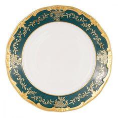 Набор фарфоровых тарелок 22 см ЮВЕЛ ЗЕЛЕНЫЙ от Weimar Porzellan, 6 шт.