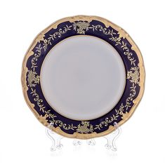 Набор фарфоровых тарелок 15 см ЮВЕЛ СИНИЙ (КОБАЛЬТ) от Weimar Porzellan, 6 шт.